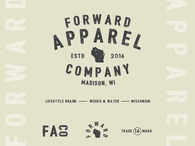 Forward Apparel Co. wisconsin outdoors brand typography logo identity branding design apparel