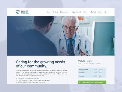 Hospital Website theme minimal healthcare health blue ui  ux design ui web doctors hospital doctor medical medicine themeforest wordpress