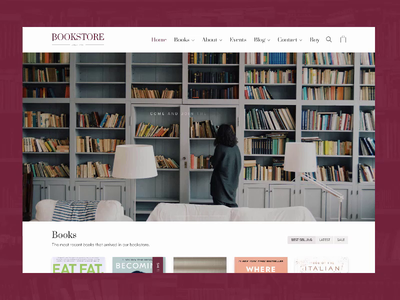 Bookstore Site web design minimalist white bookshelf reading bookshop bookstore books theme minimal ui  ux design ui web themeforest wordpress website site laborator clean light
