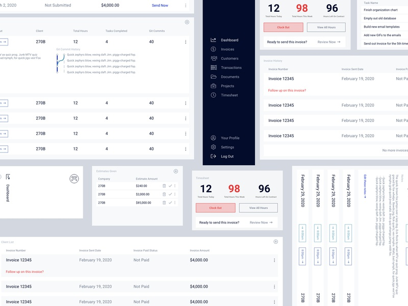 Developer Focused Timesheet clean ui simple design database software accounting charts flat design developers table statistics timesheet dashboard uiux
