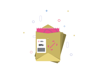 Received a Package! ux shipping fedex ups package ui simple pink newbie dribbble invite