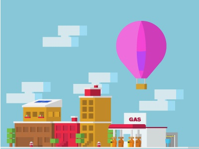 Learning from a new perspective simple gas station city flat design perspective
