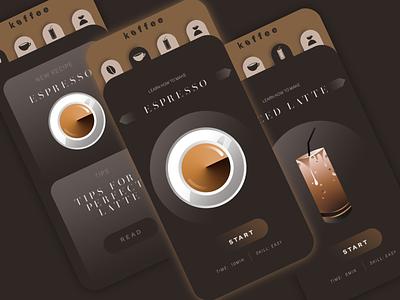 Koffee | App Design vector illustration coffee modern ui design minimal flat