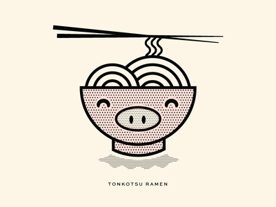 Tonkotsu Ramen brand vector illustration pittsburgh ramen