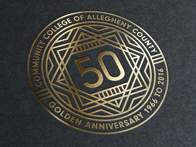 50th Anniversary Seal pittsburgh black gold seal badge lines typography design logo