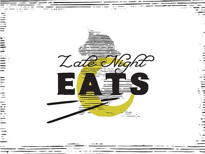 Late Nights Eats Menu Callout type menu izakaya pittsburgh monoline branding vector