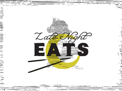 Late Nights Eats Menu Callout type menu izakaya pittsburgh monoline branding vector