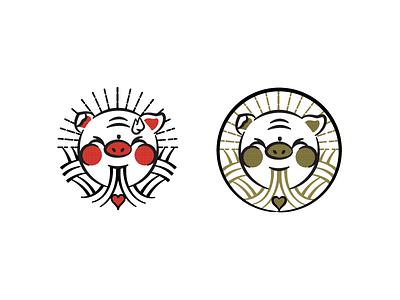 Round 1 option. Ramen shop logo illustration. Slurpy Pig logo restaurant noodles japanese pig ramen pittsburgh branding vector