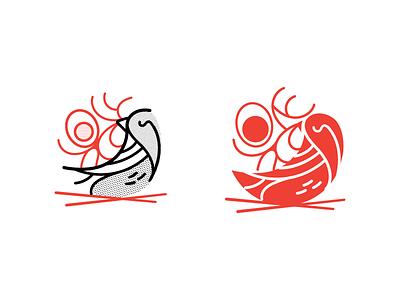 Round 1. Japanese Thrush. Ramen shop logo illustration. egg logo restaurant noodles japanese bird ramen pittsburgh branding vector