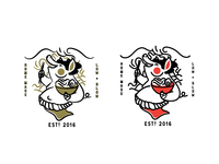 Round 1 option. Sumo Pig. Ramen shop logo illustration.