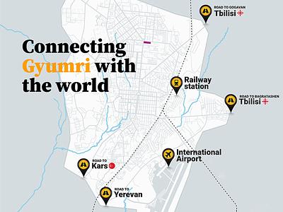 Map: Connecting Gyumri with the world qgis map armenia gyumri
