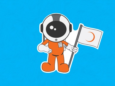 Plansource Man With The Plan complementary orange mascot logo character