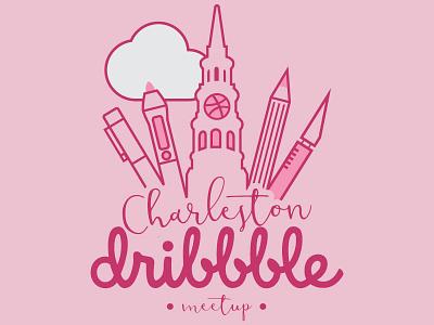 Charleston Dribbble Meetup Logo design tools charleston holy city script line work logo