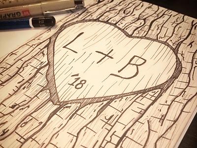 L&B Malbec wine label lines graphite ink bark heart tree label wine label sketch