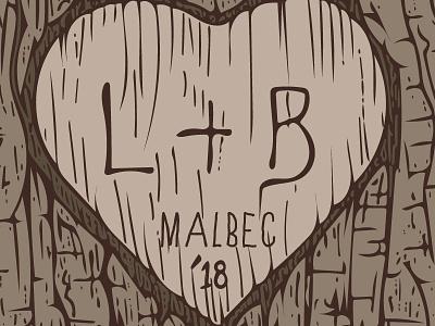 L&B Malbec 2018 Wine Label 2 illustrator label wine label lines illustration heart bark tree