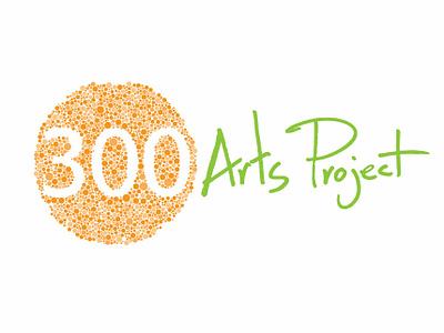 300 Arts Project Green hand writting 300 arts project dots logo