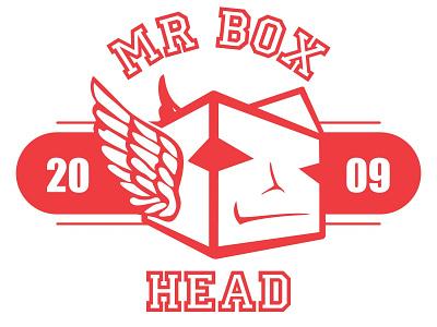 Mr Box Wing branding vector illustrator typography design box red mr box head logo hockey red wings