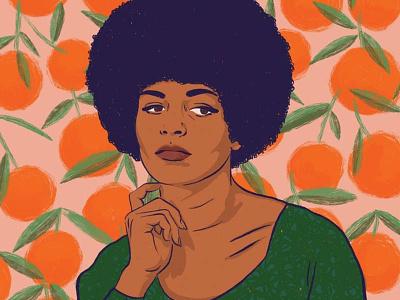 Angela Davis woman portrait pattern feminism illustration