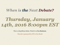 When is the Next Debate?