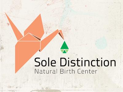 Sole Distinction - Natural Birth Center logo branding vector birth crane origami