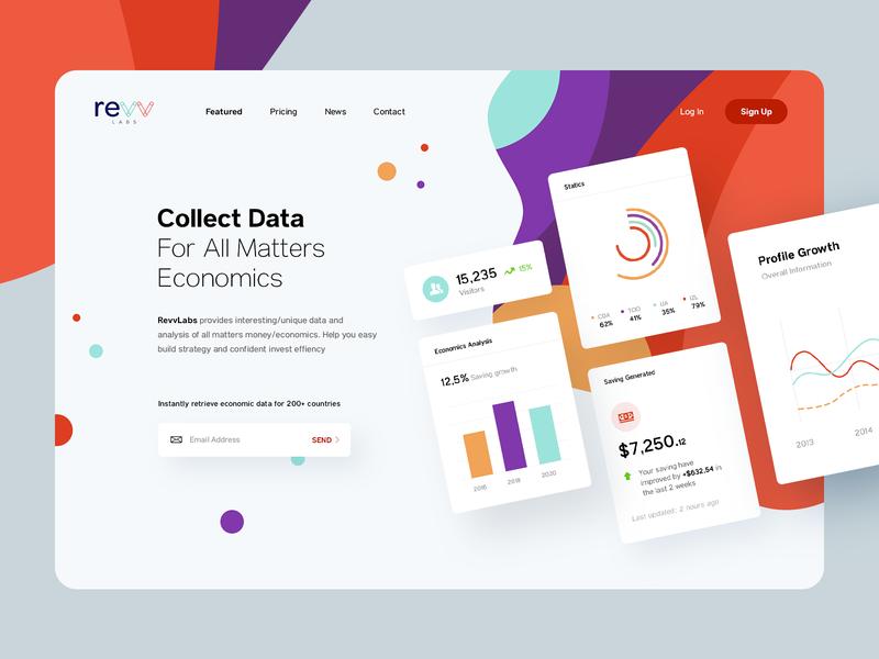 RevvLabs - Provide Database Service, Hero Banner service app websites website web service data illustration analysis marketing card ui dashboard database financee