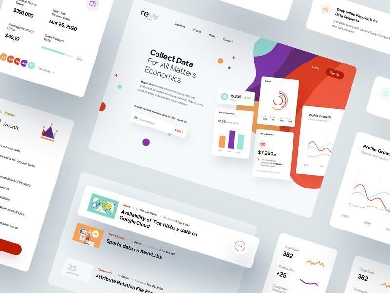 RevvLabs - Provide Database Service Website collect ui money app card service marketing illustration economy money economics source tracking database data dashboard analysis
