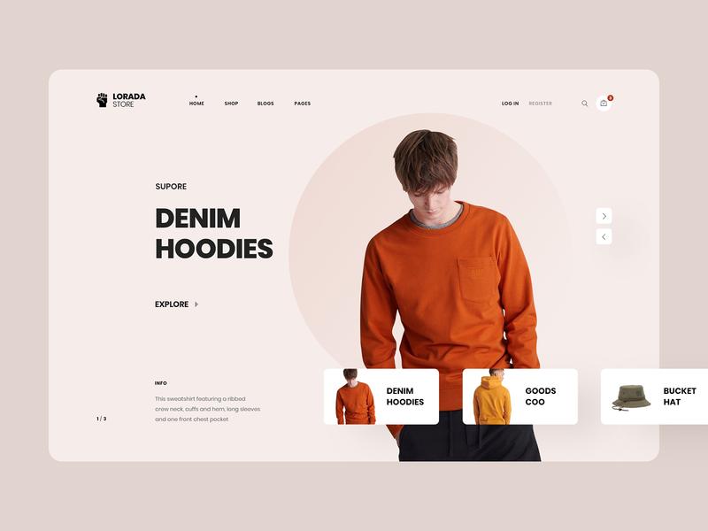 Lorada | Minimalist Fashion Store Redesign site hat clothing envato theme pastel color pastel clean minimalist minimal shop ecommerce store fashion