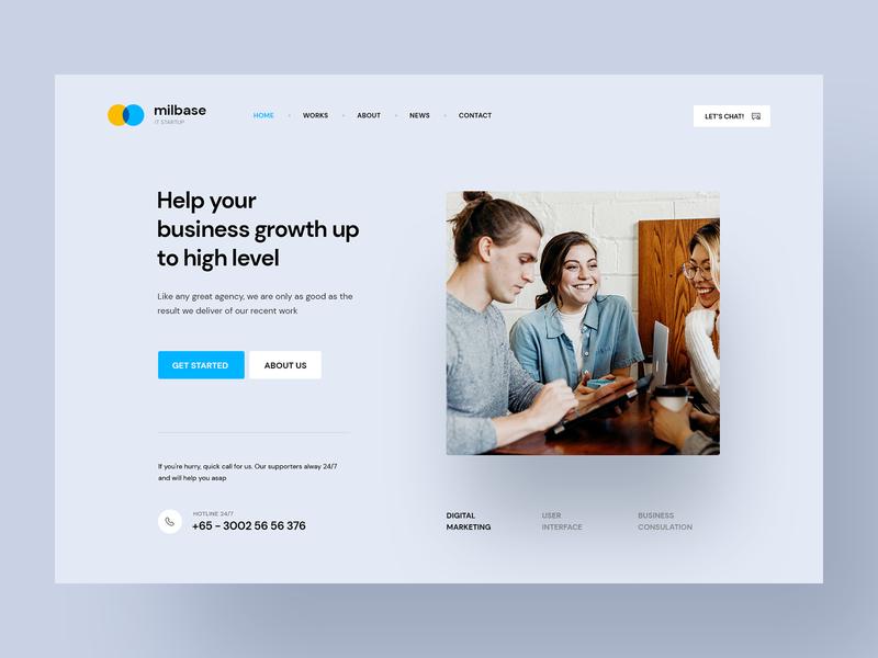 Milebase - IT Startup Agency header hero banner minimal agency branding portfolio design portfolio firm company business agency startup
