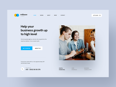 Milebase - IT Startup Agency header hero banner minimal agency branding portfolio design portfolio firm company business agency startup