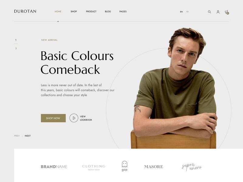 Durotan - Minimalist eCommerce Site banner slider ui store shop ecommerce clothing fashion minimalist minimal