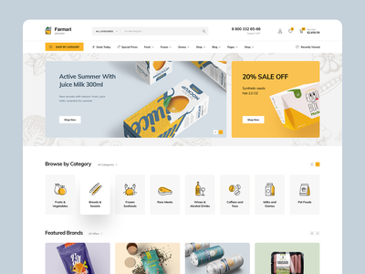 Farmart - Organic & Grocery Marketplace Redesign e-commerce shop theme marketplace supermarket market foods grocery organic