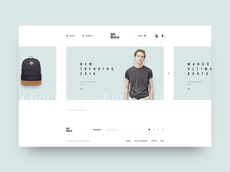 Mr.Bara | Home Minimal web minimal slide carousel site ecommerce fashion unique creative logancee