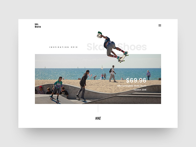 Mr.Bara | Home Shoes Concept shoes product single skate clean minimal creative site ecommerce shop nike