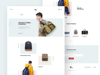 Backpack Store Site Concept site fashion bag backpack minimal ecommerce shop