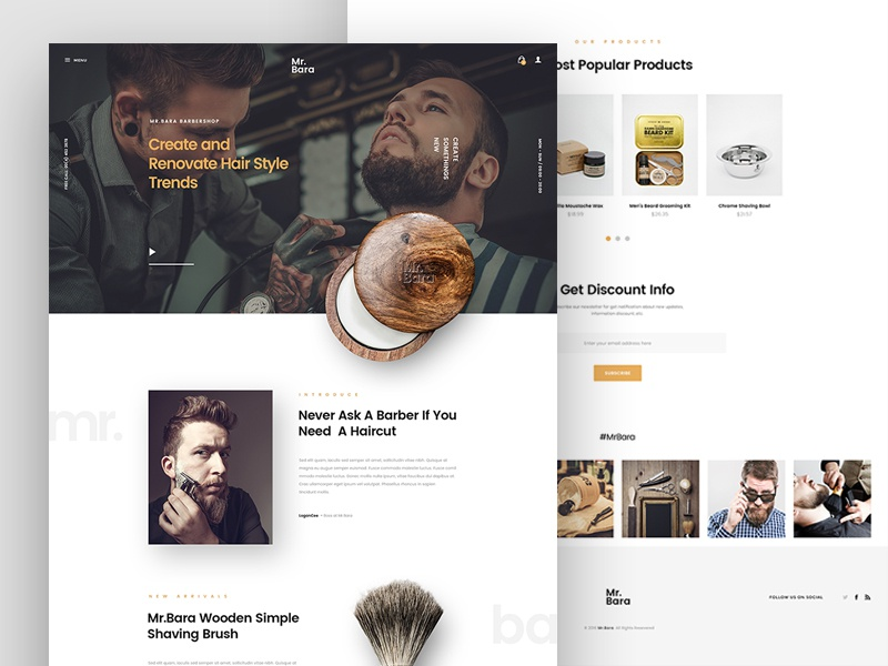 Mr.Bara | Barbershop Store theme shave ecommerce site store barber