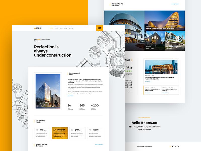 Kons Construction Firm Website By Logan Cee Dribbble Dribbble
