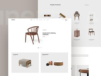 Unero - Simple Homepage envato theme template interior web simple minimal furniture shop