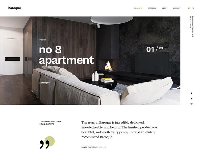 Baroque One Page Concept freelancer envato theme portfolio firm studio interior architecture architect