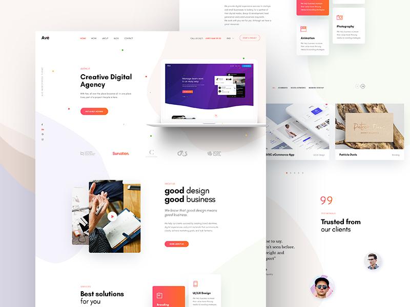 Ave Creative Agency Concept 2 gradient color portfolio business theme for wordpress envato creative agency creative theme site