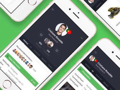 Digital Football Community profiles ui design