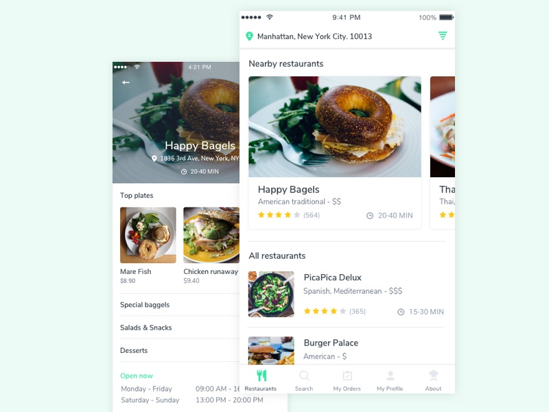Restaurant App delivery suggestions restaurant