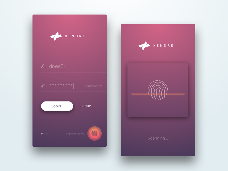 Login Screen with Touch ID ios mobile app design userinterface ux signup signin concept ui login