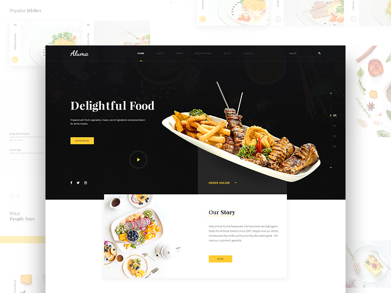 Aluma Restaurant Landing Page freebie website menu cafe restaurant food design minimal clean ux ui web