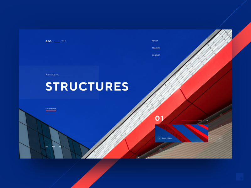 Arc. 2018 building architecture design web landing page header invision studio website ui clean minimal