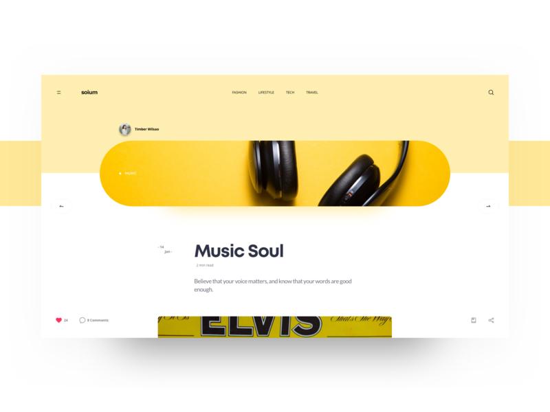Soium Blog Details Page - Yellow blog graphic blog header blog design blog type typography concept header website clean minimal design web ux ui