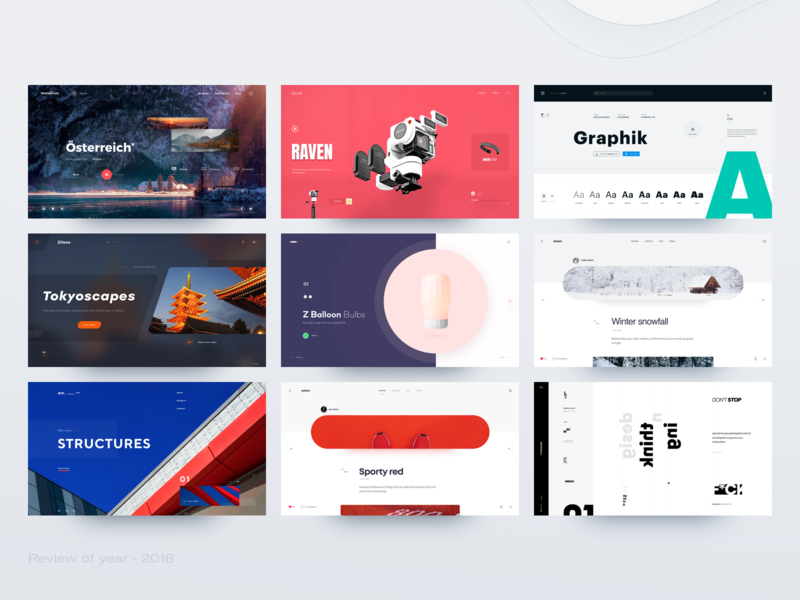 Review Of Year - 2018 landing contrast typography type color header design concept website clean minimal web ux ui