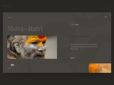 Shiva Ratri - Layout 0.2 exploration suisse layout contrast type concept website clean design web ux ui