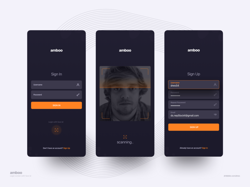 Sign in With Face Id / Sign Up concept minimal clean ui dark mode mobile design sign up sign in mobile app design mobile app android ios face id uiux ui product design mobile