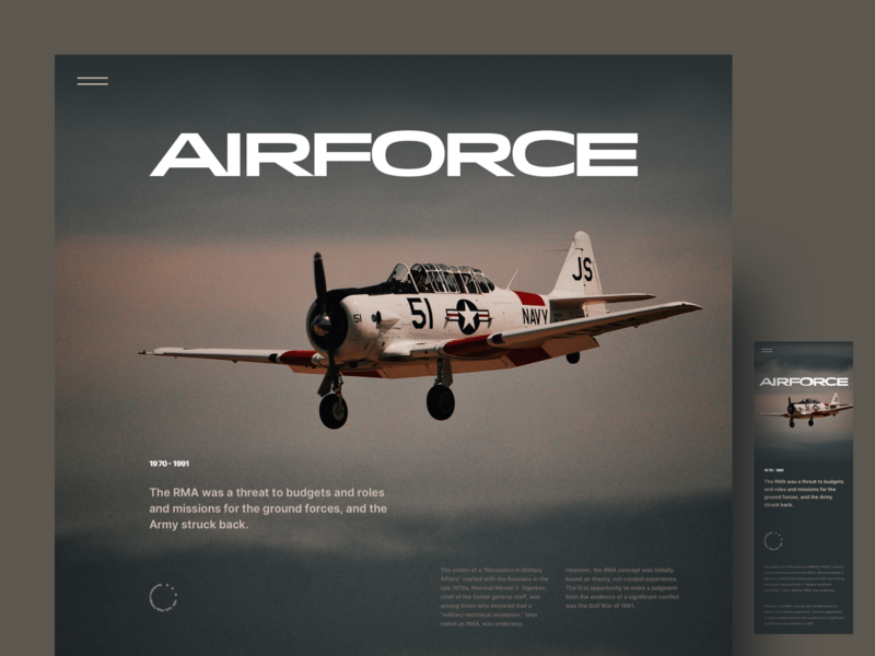 Airforce Editorial Layout us force concept clean conept editorial layout mobile design web design navy airforce sketch