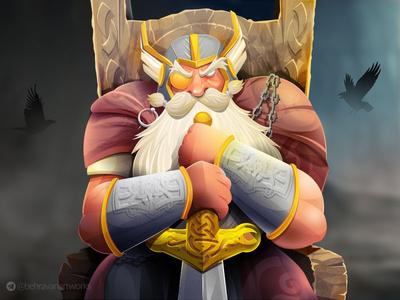 ODIN viking god of norse norse valhalla asgard warrior illustration